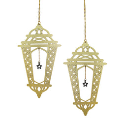 Set of 2 Gold Wooden Crosshatch Ramadan / Eid Lantern Hanging Decorations