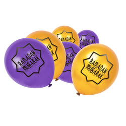 Gold & Purple Ramadan Mubarak Star Balloons (12 Pack)