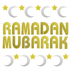 Gold Glitter Ramadan Mubarak Letters & Gold/Silver Moon & Star 2-Piece Bunting Decoration Set