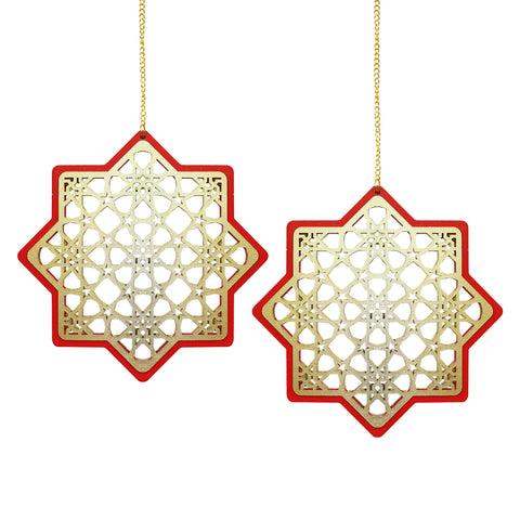 Set of 2 Wooden Ramadan & Eid Ornate Hanging Star Decorations - Gold / Red Outline