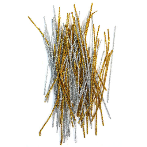 Pack of 100 Gold & Silver Tinsel Eid Arts & Craft Pipe Cleaners