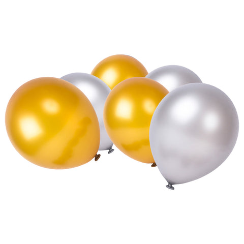 Gold & Silver Latex Ramadan & Eid Party Balloons (50 Pack)