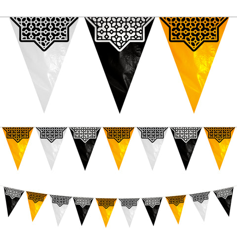 Black, White & Gold Geometric Star Plastic Triangle Bunting - 10 meters