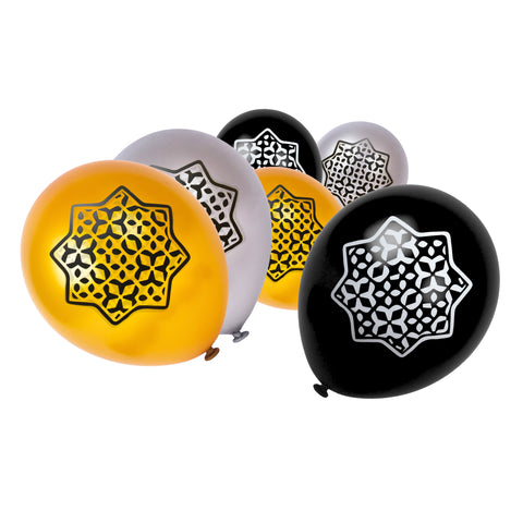 Gold, Silver & Black Rub el Hizb 8-Pointed Star Balloons (15 Pack)