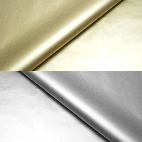 Metallic Silver & Gold Tissue Wrapping Paper - 75 x 50cm (20 Pack)