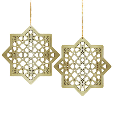 Set of 2 Wooden Ramadan & Eid Ornate Hanging Star Decorations - Gold