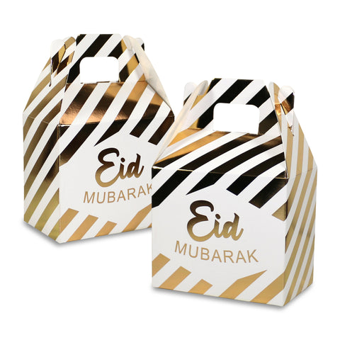 Metallic Gold & White Stripe Eid Mubarak Gift Favour Boxes