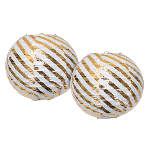 Pack of 2 Paper Hanging Lanterns - White & Gold Stripe