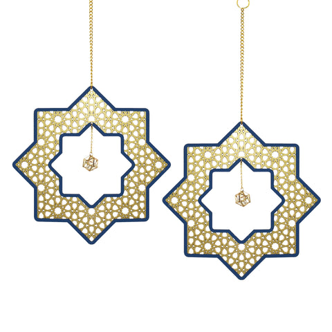 Set of 2 Wooden Ramadan & Eid Ornate Hanging Star Decorations - Gold / Blue Outline