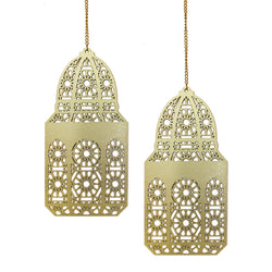 Set of 2 Gold Geometric Pattern Wooden Ramadan / Eid Lantern Hanging Decorations