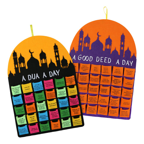 'A Good Deed a Day' & 'A Dua A Day' Felt Ramadan Calendars Twin Pack