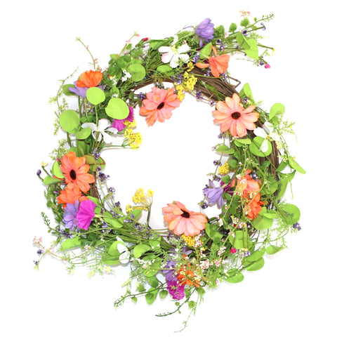 Large Artificial Spring Garden Wreath Hanging Decoration (58cm)