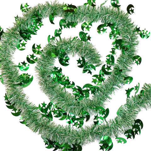 Green & White Eid Crescent Moon & Star Tinsel - 2 meters