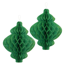 Pack of 2 Green Honeycomb Paper Lantern Hanging Decorations