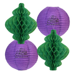 Set of 4 Assorted Paper Eid Hanging Lanterns - 2x Green 2x Purple