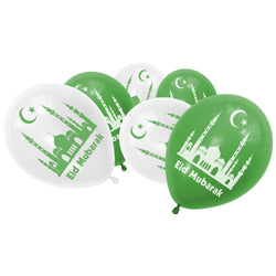 Green & White Eid Mubarak Mosque Balloons (12 Pack)