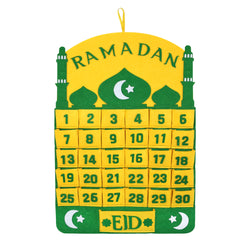 Green & Yellow Ramadan Advent Calendar with Large Eid Pocket