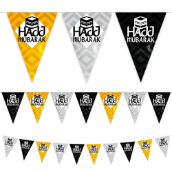Black, White & Gold Hajj Mubarak Kaaba Plastic Triangle Bunting - 10 meters