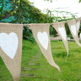 Natural Hessian Heart Triangle Flag Eid Decoration Bunting