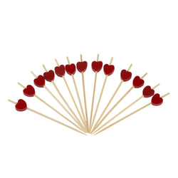 Pack of 100 Red Heart Cocktail Sticks