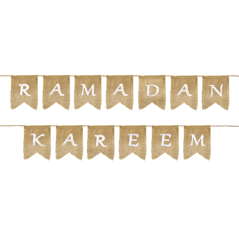 Eid Party Ramadan Kareem Natural Hessian Bunting