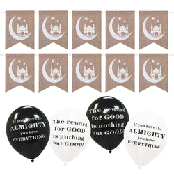 Pack of 20 Black & White Phrase Balloons & Hessian Mosque Bunting Set