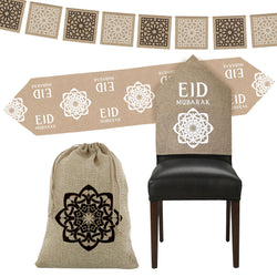 Eid Mubarak Hessian Table Decoration Set, Bunting & Gift Sack