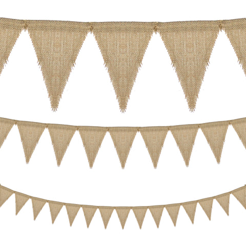 Plain Natural Hessian Triangle Flag Eid Decoration Bunting