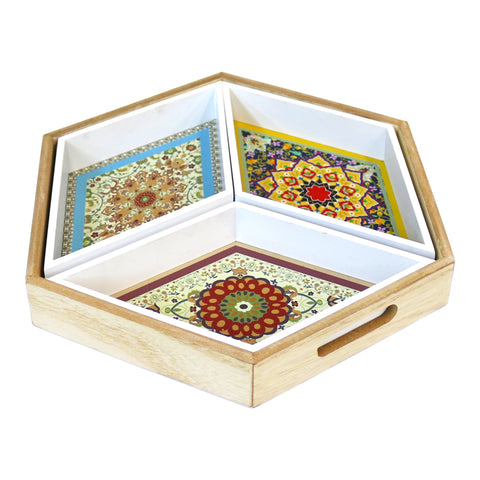 Wooden Hexagonal Floral Pattern 4-Piece Eid & Ramadan Food Serving Tray
