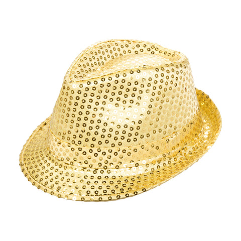 Gold Sequin Fedora Eid Party Dress Up Hat