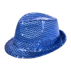 Blue Sequin Fedora Eid Party Dress Up Hat