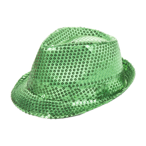 Green Sequin Fedora Eid Party Dress Up Hat