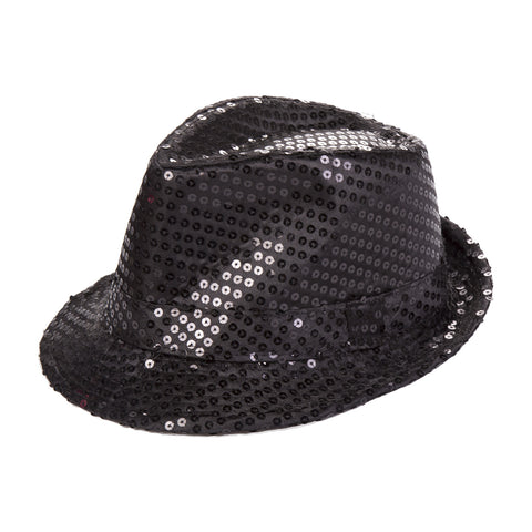 Black Sequin Fedora Eid Party Dress Up Hat