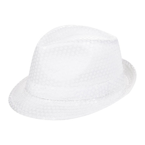 White Sequin Fedora Eid Party Dress Up Hat