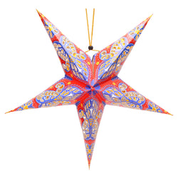 Red & Purple Large Paper Hanging Star Eid Decoration
