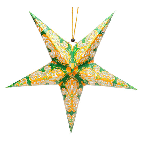 Green & Yellow Large Paper Hanging Star Eid Decoration