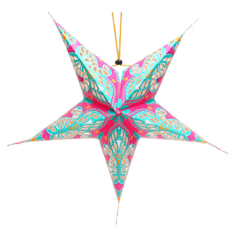 Pink & Turquoise Large Paper Hanging Star Eid Decoration