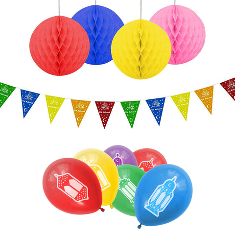 Eid Lantern Multicolour Balloons, Bunting & Hanging Honeycomb Balls Party Set