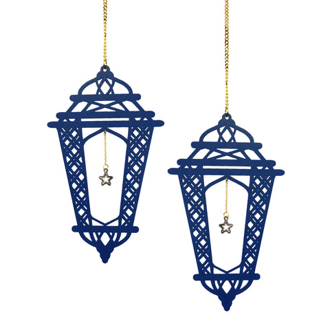 Set of 2 Blue Wooden Crosshatch Ramadan / Eid Lantern Hanging Decorations