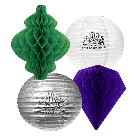 Set of 4 Assorted Paper Eid Hanging Lanterns - Green, White, Silver & Purple