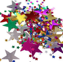 Multicolour Large & Mini Metallic Star Shaped Eid Table Confetti