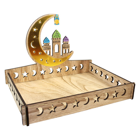 Wooden Moon & Star Self-Assembly Iftar Serving Tray