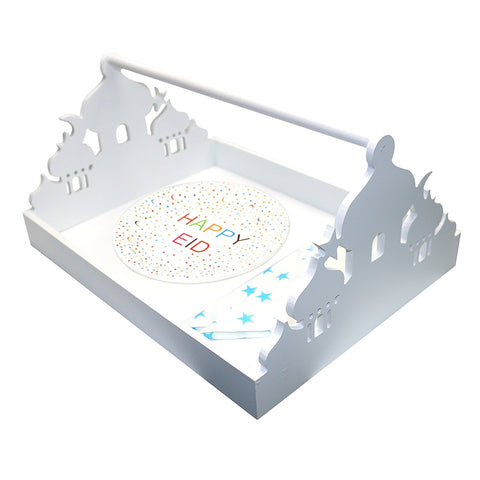 Rustic White Wooden Eid Mubarak Mosque Design Serving Tray - Large