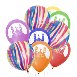 Multicolour Mosque Eid Mubarak Balloons & Multicolour Marble Balloons Bunch