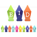 Multicolour Lantern Shaped Eid Mubarak Card Bunting