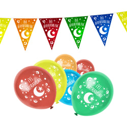 Multicolour İyi Bayramlar Turkish Eid Balloons & Bunting Set