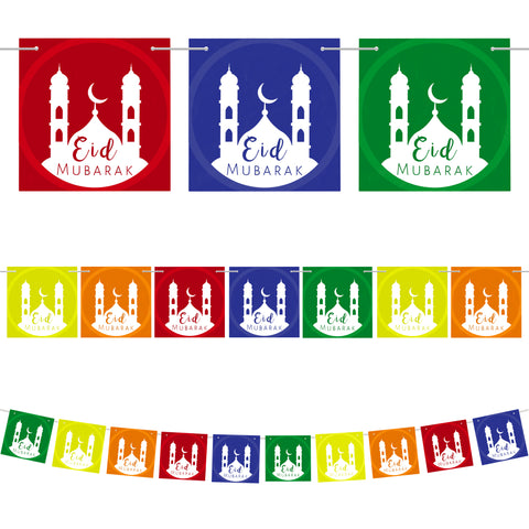 Multicolour Eid Mubarak Mosque Card Pennant Bunting - 10 Flags / 2m