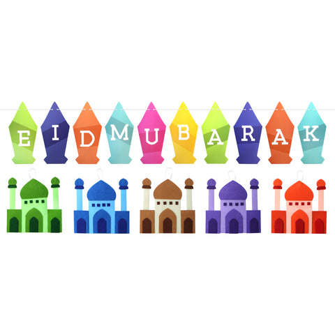 Multicolour Lantern Eid Mubarak Bunting & 5 Multicolour Felt Mosques Decoration Set