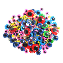 Pack of 200 Assorted Size Multicolour Arts & Craft Googly Eyes