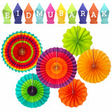 Multicolour Eid Mubarak Lantern Bunting & Assorted Multicolour Concertina Paper Fans Set